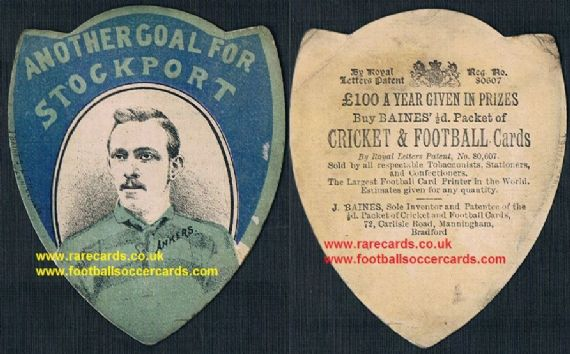 1890 Baines Litho Bradford Stockport FC Ankers shield football rugby card from Manningham